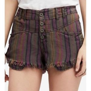 Free People Purple Fly Button Distressed Shorts